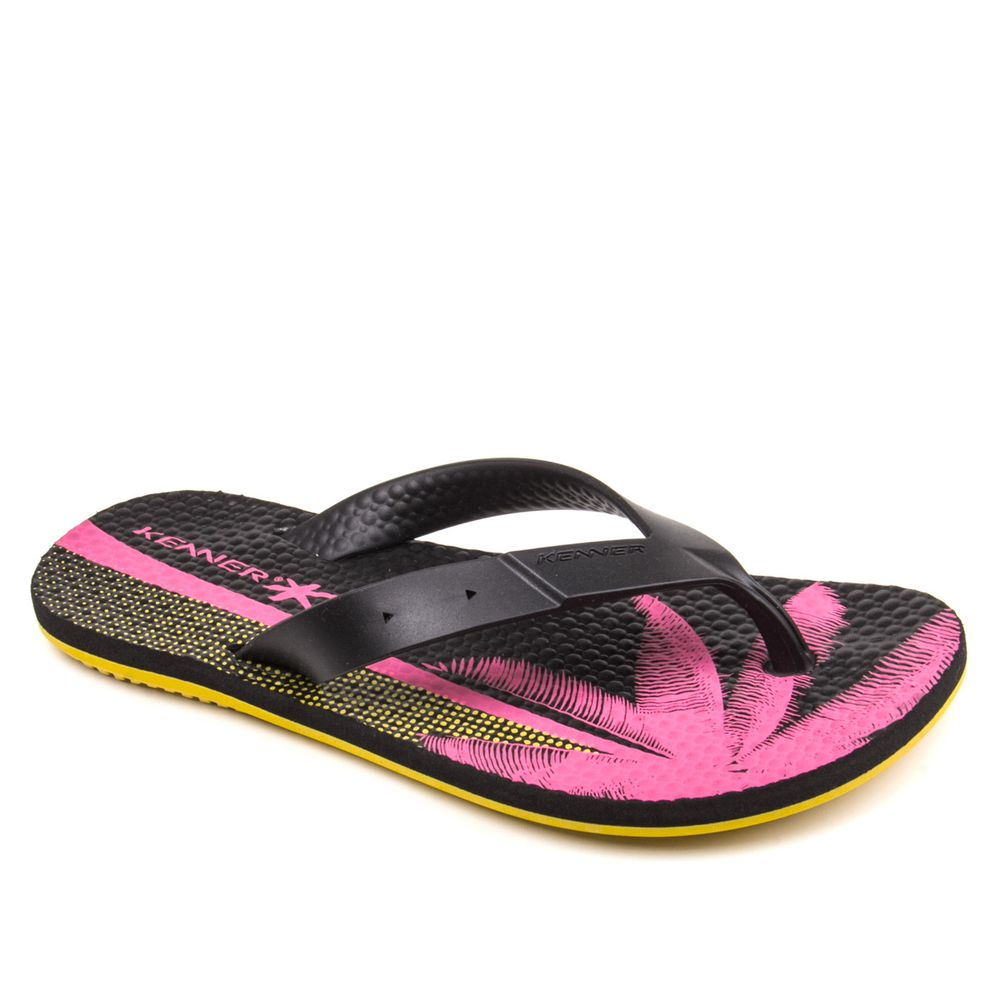 Chinelo-Unissex-Kenner-Summer-Tropical-preto-amarelo